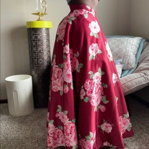 Red Pink Floral Full length Formal Skirt Xs/small